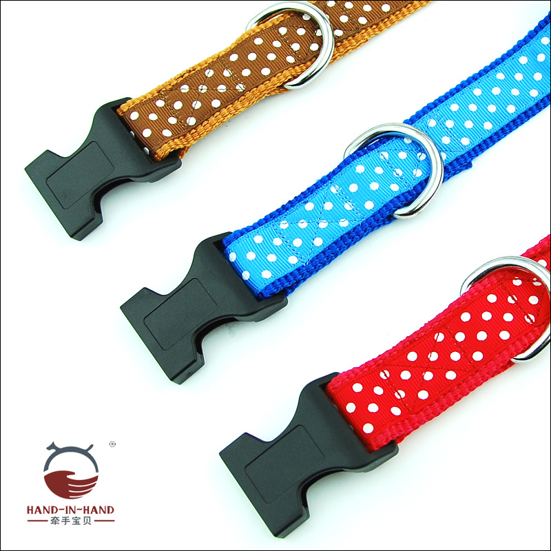 Hand-in-hand Pet Supplies Pet Collar Large Dog Collar Collar Collar Dog Supplies Webbing Dotted Neck Band