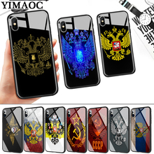 russia Flag coat of arms Glass Phone Case for Apple iPhone 11 Pro XR X XS Max 6 6S 7 8 Plus 5 5S SE