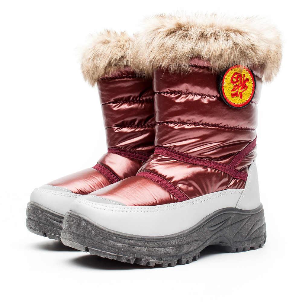 ילדי שלג מגפי חורף קטיפה להתחמם נעלי בני בנות ילדים אמצע עגל עמיד למים העפלה נעליים פעוט תינוק מגפיים