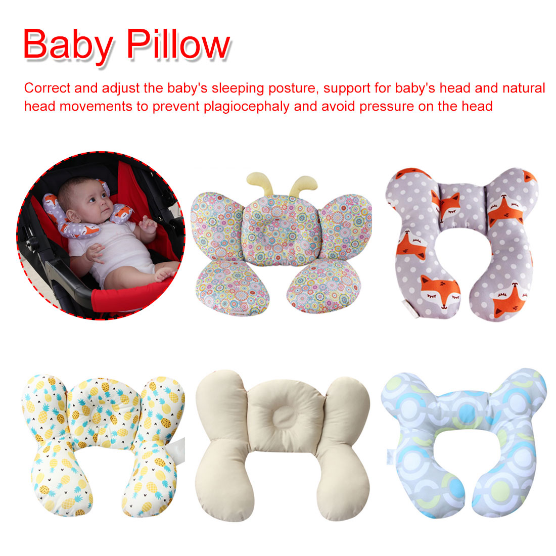 Shape Baby Head Support Pillow Stroller Neck Protection Headrest Infant Toddler Car Safety Seat Soft Sleeping Pillow