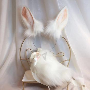 Czarny dzień biały śnieg królik bestia ucho obręcz do włosów nakrycia głowy ogon zestaw przebranie na karnawał akcesoria dla dziewczyny kobieta tanie i dobre opinie Kostiumy Hair hoop Unisex Dla dorosłych Poliester 12cm height ears party game lovely Halloween cosplay handmade 3-7 days