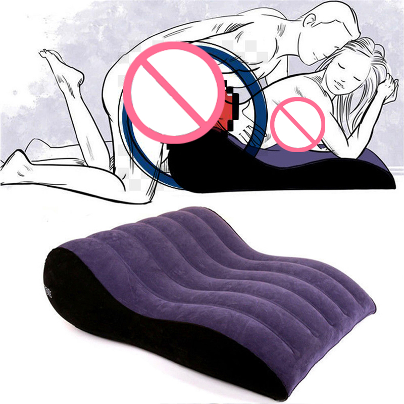 Inflatable Sofa Bed Wedge Flocking Adult Sexy Pillow Love Positions Support Cushion Couples Sexy Equipment Erotic Furnitures