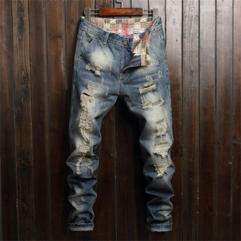 Jeans Men 100% Cotton Beggars Jeans Men Ripped Afligido Man's JeansFashion Classic European And American Style #776