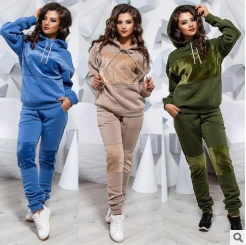 Fashion Autumn Winter Tracksuit Women Hoodies Sweatshirts+ Long Pants Two Piece Set Outfits Pathwork Warm