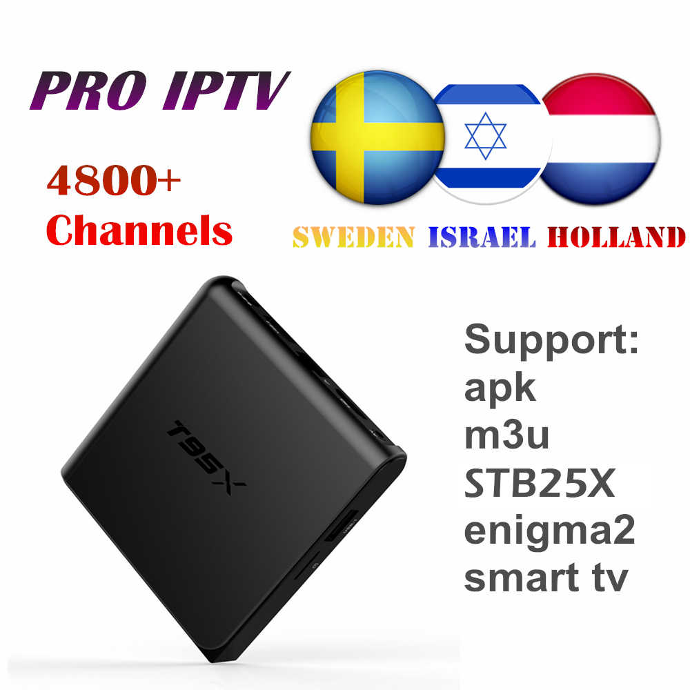 T95X Android TV Box With IPTV Subscription For Swedish Israel Netherlands Thailand Pakistan Brazil Nordic IP TV 10000+ Channels