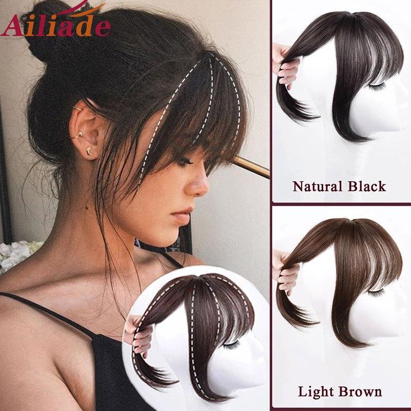 AILIADE коричневые черные верхние челки с 3 зажимами, челки для наращивания волос, синтетические высокотемпературные волосы для женщин, 3D челки...