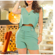 Fashion Shorts Set 2021 Summer V-neck Sleeveless Vest Top + Shorts Two-piece Set