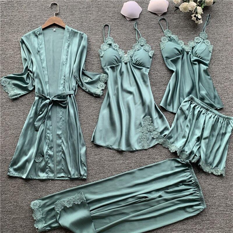 Ice Silk Women Pajamas  5 Pcs Set Lace Sexy Pajama Set With Chest Pad Spaghetti Strap Set Sleepwear