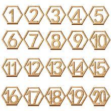 1 20 numeri Segni di Legno Da Sposa Hexagon Numero di Tabella di Numeri Da Tavolo In Legno di Nozze Rustico di Fidanzamento Sedile Numeri Segno
