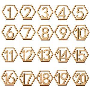 Image 1 - 1 20 מספרי עץ סימני חתונה משושה שולחן מספר עץ שולחן מספרים כפרי חתונה אירוסין מושב מספרי סימן