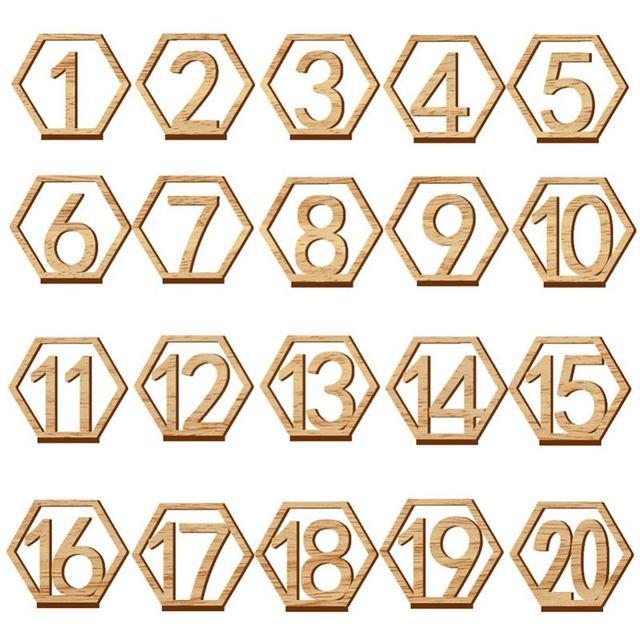 1 20 מספרי עץ סימני חתונה משושה שולחן מספר עץ שולחן מספרים כפרי חתונה אירוסין מושב מספרי סימן