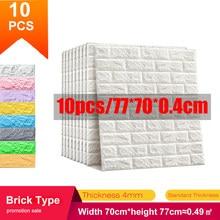 10PCS Self-adhesive DIY Brick Foam Panels 3D Wall Stickers Embossed Stone Wallpaper Home Decor Living Room Kitchen Decoration