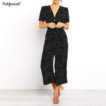 цена на Women casual Polka dot printed button V-neck Siamese jumpsuit Ladies short sleeve belt wide leg  jumpsuit  D25