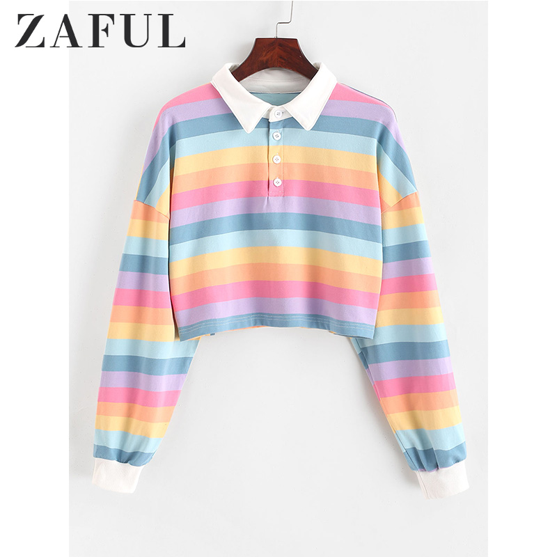 ZAFUL Crop Sweatshirt Pullovers Half-Button Rainbow Contrast-Striped Autumn Women Short