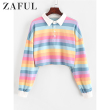 ZAFUL Contrast Striped Rainbow Half Button Crop Sweatshirt Short Polo Shirt Long Sleeve Women Shirts Autumn Pullovers Top Female недорого
