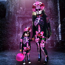 Jumpsuit Halloween-Costume Scary Dead-Skeleton-Print Witch Pink Devil Cosplay Carnival