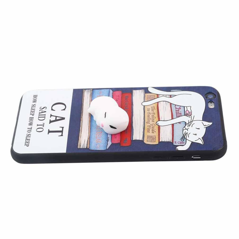רטוב סיליקון קריקטורה נייד מקרי טלפון 3D חמוד חתלתול חותם טלפון כיסוי להקלה על מתח מקרה עבור iPhone 6 בתוספת