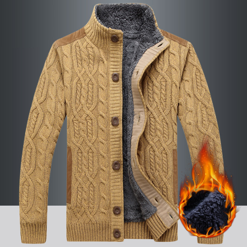 New Fashion Winter Cardigan Men Patchwork Fleece Wool Liner Warm Knitted Wear Single Breasted Thick Sweater Men