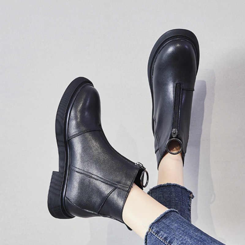 Vrouwen Laarzen Lederen Laarzen Pluche Bont Zwart Winter Schoenen Voor Vrouwen Enkellaars Lage Hak Zip Soft Leather Vrouwen booties