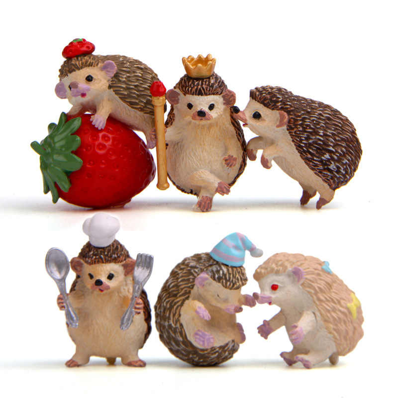 Милый Ежик, миниатюрные животные, 6 шт., мини-игрушки, ремесленные украшения, настольный декор, миниатюрные фигурки, аксессуары для домашнего декора