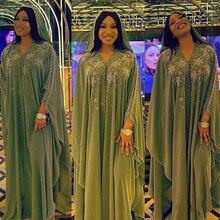 Doib африканские платья для женщин шифоновые бриллиантовые бусины