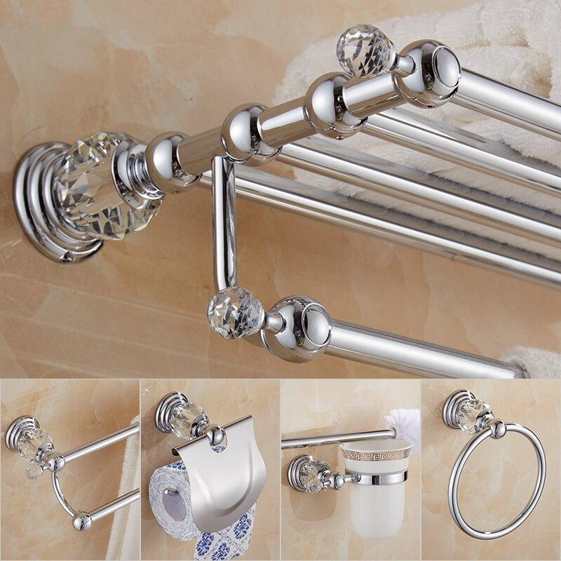 Bathroom Accessories set Brass Shower Shelf Toilet Paper Holder Silver Crystal Wall Mounted Towel Bar Toilet Brush Holder