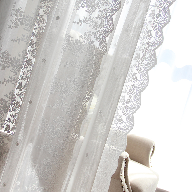 Pastoral Embroidered Tulle Curtains For Living Room Luxury White Sheer Volie Window Curtain For Bedroom Lace Cortina Para Sala