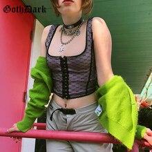 ALTERNATIVE Clothing Tank-Tops Aesthetic Dark-Mesh Mall Goth Egirl Vintage Purple Women