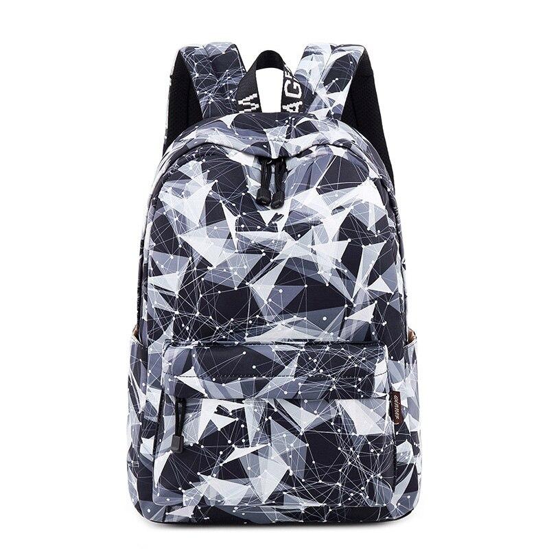 Fashion Waterproof Women Backpack Geometric Pattern Printing Large Capacity Female Knapsack College Laptop Mochila 2019