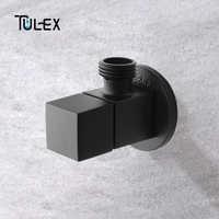 TULEX Black Stop Valve Faucet Angle Valve Brass Diverter Toilet Valve Shower Head Connector Solid Brass Attachement on Crane