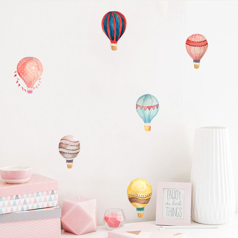 36pcs Macaron Hot Air Balloon Water Color Wall Sticker Color Circle Wall Decals For Kids Room Baby Nursery Decoration Home Decor