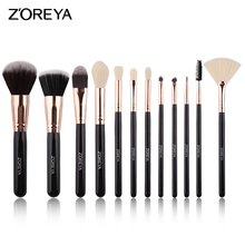 Zoreya Brand Black Makeup Brushes 12pcs Synthetic Fibers Cosmetic Kit Crease Eye Brow Blush Powder Brush For Make Up Beginner