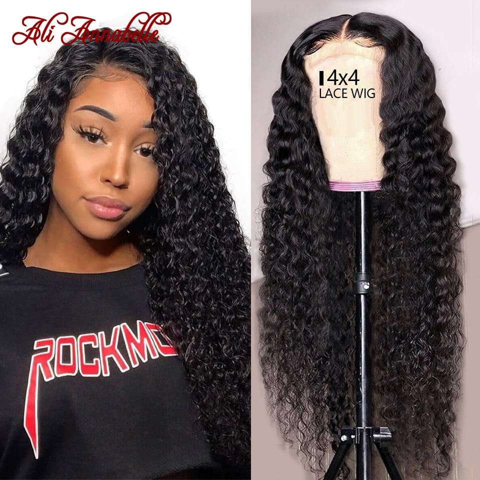 Peruano perucas de cabelo humano onda profunda peruca 4x4 fechamento do laço peruca para as mulheres preplucked hairline ali annabelle onda profunda peruca dianteira do laço