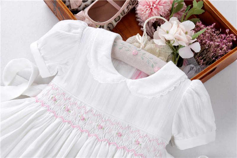 ฤดูร้อนเด็กทารกชุดสีขาว smocked ผ้าฝ้ายทำด้วยมือ VINTAGE เสื้อผ้าเด็ก Princess PARTY บูติกเสื้อผ้าเด็ก