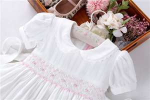 Image 2 - summer baby girls dresses white smocked handmade cotton vintage wedding kids clothing Princess Party boutiques children clothes