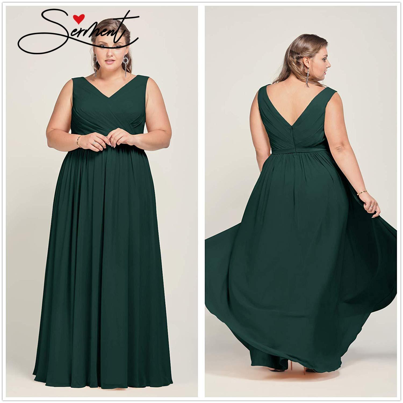 SERMENT Spring Autumn Multicolor Double V-neck Chiffon Light And Comfortable Waist Sleeveless Evening Dress Large Size