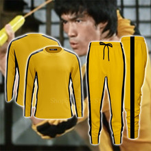 Bruce Lee Klassieke Gele Kung Fu Uniformen Man Chinese Cosplay Kostuum Game Of Death Trainingspak Jeet Kune Do Training T-shirt(China)