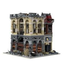 Buildmoc downtown eua diner cidade rua vista a ruína restaurante com 15037 apocalipse modelo modular blocos de construção brinquedos