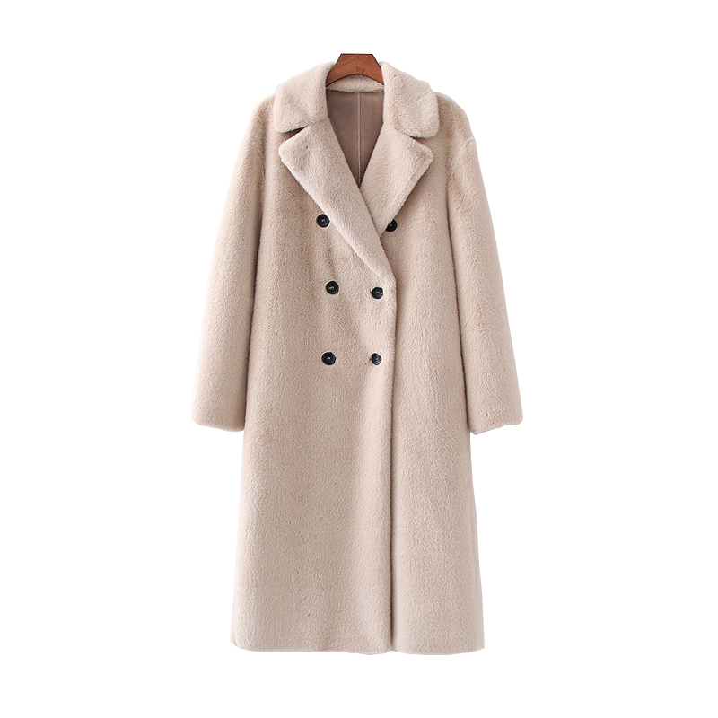 Vintage Women Rabbit Fur Long Coats Fashion Ladies Elegant Beige Jackets Winter Female Double-breasted Thick Warm Outwear Girls