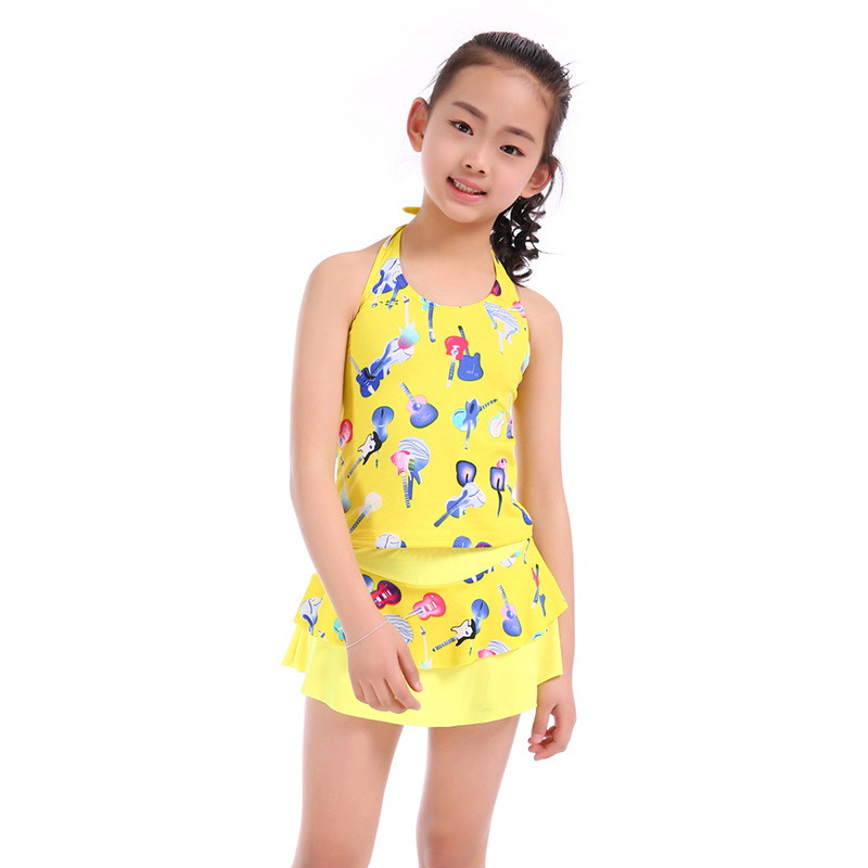 Drop Love For Water 2019 New Style Girls Printed Tour Bathing Suit Big Boy Korean-style Split Type KID'S Swimwear