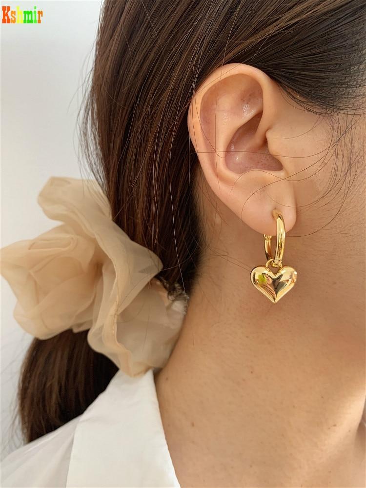 Kshmir S925 Metallic Gold Heart Earring Female Heart-shaped Stud Metallic Earring 2020 New Fashion earrings C-shaped earrings