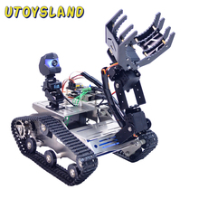 Programmabile TH WiFi Bluetooth FPV Serbatoio Robot Car Kit con il Braccio per Arduino MEGA   Line Patrol Obstacle Avoidance Versione di grandi dimensioni