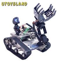 Programowalny TH WiFi Bluetooth FPV zbiornik samochód Robot zestaw z ramieniem dla Arduino mega line Patrol unikania przeszkód wersja duża