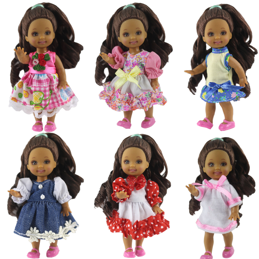 NK Random 6 Pcs/Set Cute Mini Doll Dress Daily Wear Gown Clothes For Barbie Sister Kelly Doll Accessories Dollhouse Toys 6X