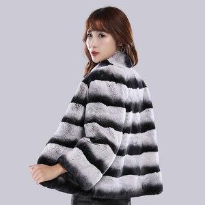 Image 3 - Kobiety szynszyla futro pani prawdziwe futro królika reks kurtka w paski skóra kobiet prawdziwa odzież z futrem gruba ciepła, markowa moda