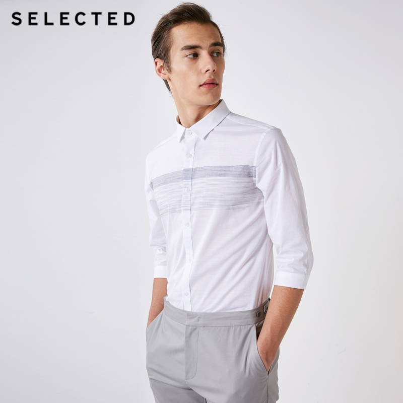 SELECTED Men's Slim Fit Slightly Stretch Micro-elastic Spliced Stripes 3/4 Sleeves Shirt S|419131506