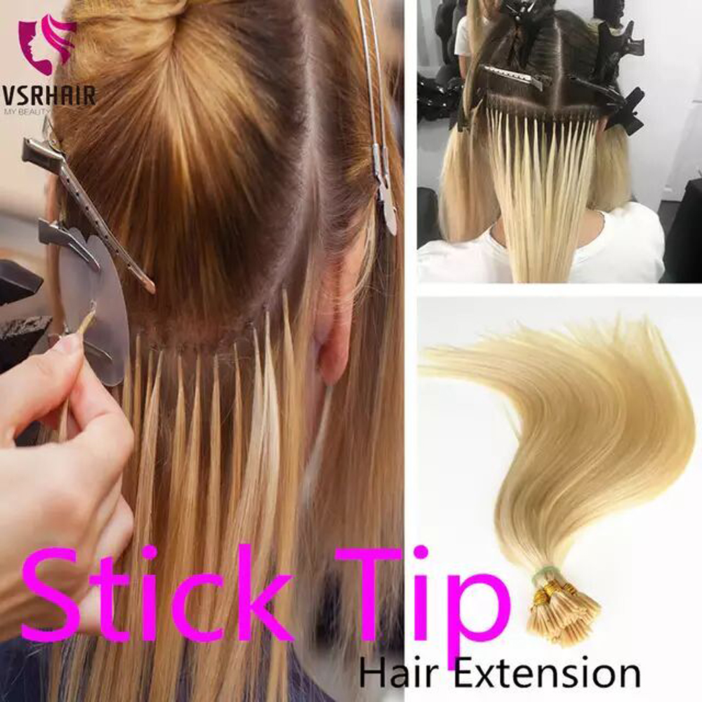 VSR 100% Human Hair Stick  Tips 50 Strands 100 Strands Machine Remy I TIP Hair For Salon Especially  Keratin Hair Extension