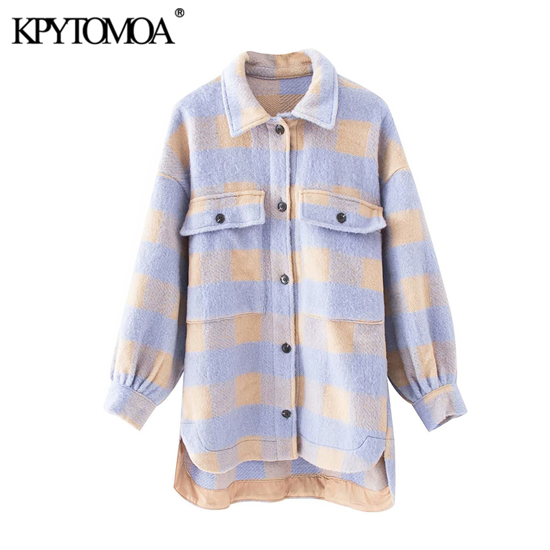 KPYTOMOA Women 2020 Fashion Overshirts Oversized Checked Woolen Jacket Coat Vintage Pocket Asymmetric Female Outerwear Chic Tops