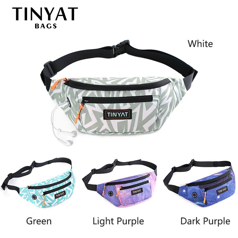 TINYAT Women Waist Bag Pack Bohemia Print Girl's Belt Bag For Phone Money Casual Bag For Belt Of 4 Pockets Travel Belt Pouch