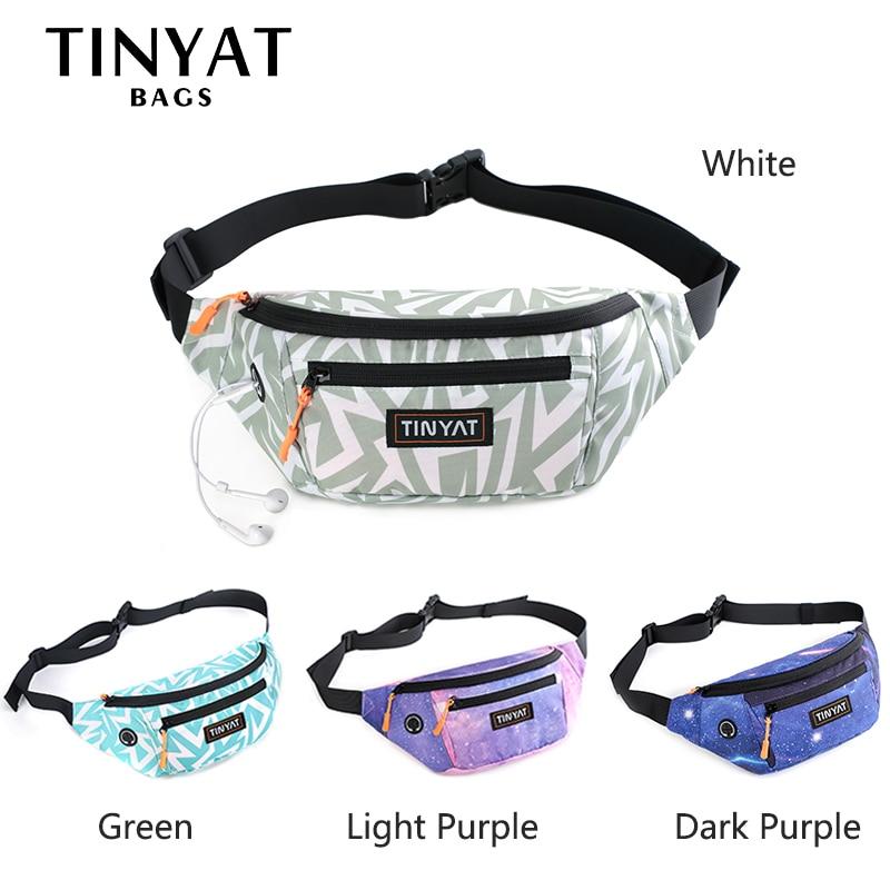 TINYAT Women Waist Bag Pack Bohemia Print Girl's Belt Bag For Phone Money Casual Bag For Belt Of 4 Pockets Travel Belt Pouch